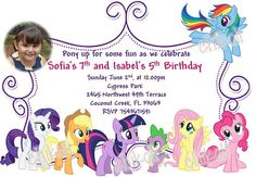 My Little Pony Invitation and thank you card My little by Chikoli