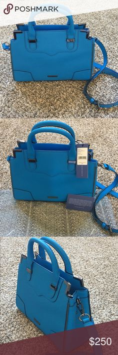"""⭐️HP⭐️ NWT Rebecca Minkoff Small Amorous Satchel Bag is an authentic Rebecca Minkoff saffiano leather SMALL Amorous Satchel. Color is labeled as True Turq but is more of a beautiful cobalt blue. Interior of the bag has the same print as the dust bag, which is also included. Perfect small spring/summer bag!  Genuine saffiano leather 10.5""""W x 8.25""""H x 4.5""""D 3.5"""" handle drop 21"""" adjustable and detachable shoulder strap drop Custom dark silver hardware Interior flap with magnetic snap closure…"""