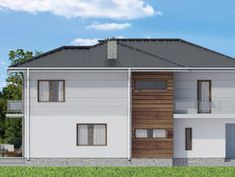 modern and functional two-storey house with an elegant architectural form. Elevation is finished with white walls and classic wood texture [. House Construction Plan, Model House Plan, Cabin House Plans, Two Storey House, Hip Roof, Cabin Homes, Wood Texture, White Walls, Shed