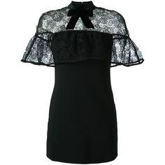 Self-Portrait Velvet Bow Lace Cape Dress (1 465 PLN) ❤ liked on Polyvore featuring dresses, black, bow dress, lace cocktail dresses, velvet cocktail dress, lacy dress and lace dress