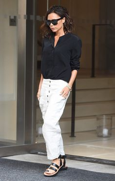 On Victoria Beckham: Victoria Beckham sunglasses; Céline Hiker Sandals ($1150).