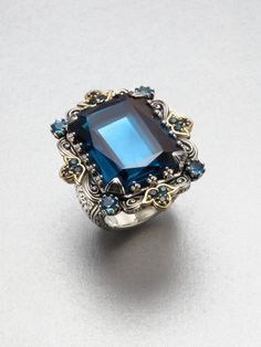 Konstantino Semiprecious Multistone Sterling Silver 18k Gold Cocktail Ring in Blue