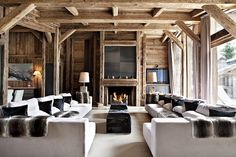 white and fur is pretty much the definition of chalet chic
