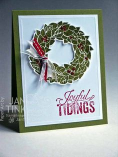 Joyful Tidings Merry Christmas Elegant Wreath Greeting by JanTink, $5.95