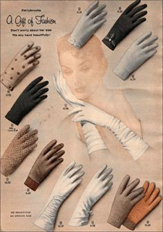 Vintage Sears catalog page for Kerrybrooke gloves. #vintage #gloves #fashion