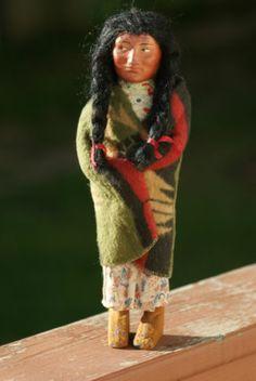 "Old Vintage Antique Skookum Doll Figurine Native American Indian Wood Legs 11"""