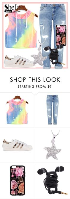 """""""Rainbow-Ombre-Hooded-Crop-Top"""" by lerolero988 ❤ liked on Polyvore featuring Miss Selfridge and adidas Originals"""
