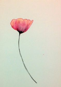 Watercolor Poppy in Orange by TatteredPetals on Etsy
