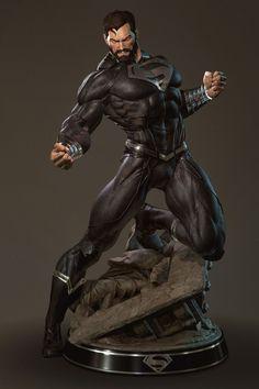 Superman in black suit Comic Book Characters, Comic Character, Comic Books Art, Comic Art, Arte Dc Comics, Dc Comics Art, Marvel Comics, Hulk Marvel, Top Superheroes