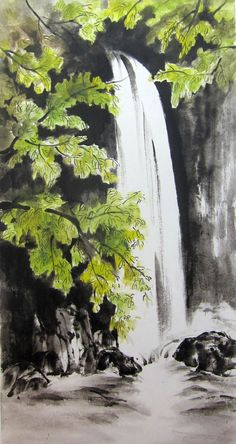 Waterfall Original  Japanese Ink Painting Rice Paper Sumi-e Suibokuga Large painting 13 x 26 inch Green