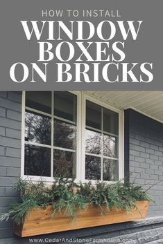 How to Install Window Boxes on Bricks – Cedar & Stone Farmhouse. Add curb appeal… How to Install Window Boxes on Bricks – Cedar & Stone Farmhouse. Add curb appeal to your brick house with these DIY window boxes! Cedar Window Boxes, Fall Window Boxes, Window Box Flowers, Window Box Diy, Porch Boxes, Roses Pink, Diy Flower Boxes, Diy Flowers, Paper Flowers