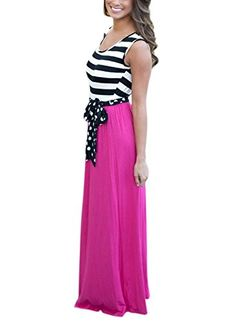 ZXZY Womens Flattering Sleeveless Bowknot Tie Front Stripe Maxi Dress *** To view further for this item, visit the image link.