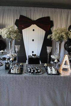 Black and white tuxedo birthday party! See more party planning ideas at… 50th Birthday Party Ideas For Men, Adult Birthday Party, Man Birthday, Birthday Decorations For Men, Bowtie Birthday Party, Mustache Party, Soirée James Bond, James Bond Party, Silvester Party