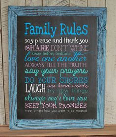 FAMILY RULES 8x10 Typography Art Print, Rustic Look Faux Chalkboard