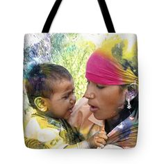 """Mother and Child Harvest India Rajasthan Tote Bag 18"""" x 18"""""""