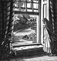 Gwen Raverat wood engraving The Library Window, The Runaway 76 x 71mm, block cut 1936.