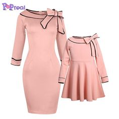 PopReal Mommy and Me Dresses Sweet Bowknot Decorated Party Elegant Midi Matching Outfits: Clothing Mommy And Me Dresses, Mommy And Me Outfits, Mom Dress, Kids Outfits, Girls Dresses, Party Outfits, Dress Girl, College Outfits, Mother Daughter Matching Outfits