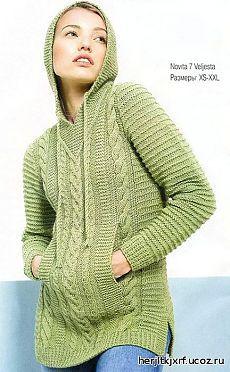 Пуловер с капюшоном. - пуловера.свитера.джемпера - вязание спицами для женщин. - Каталог файлов - Дизайн-студия вязаных изделий.