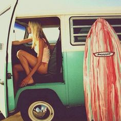 Bessell Acid Splash with Volkswagon Bus and Beautiful Surf Girl!