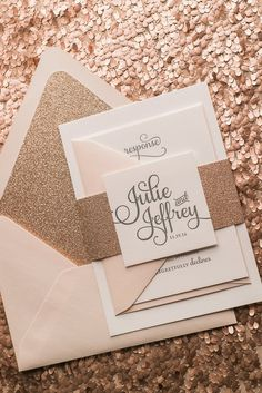 CASEY Suite Glitter Package, blush, grey, rose gold, letterpress wedding invitations, glitter wedding invitations, rose gold glitter