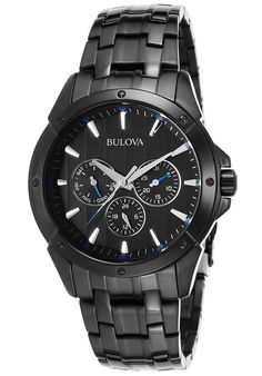 Bulova 98C121 Watches,Men's Chronograph Black IP Steel and Dial, Sport Bulova Quartz Watches