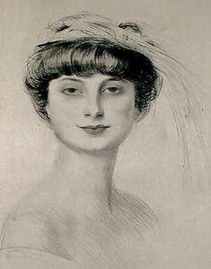 Paul Cesar Helleu (French artist, 1859-1927) Anna de Noailles (1876-1933)