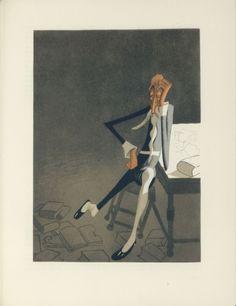 Albert Dubout Don Quixote at his library L'Ingénieux Hidalgo Don Quichotte de la Manche (1951-Paris-Valois)