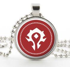 World of Warcraft Necklace - Glass Silver Pendant - Horde Symbol Logo Art - World of Warcraft Jewelry