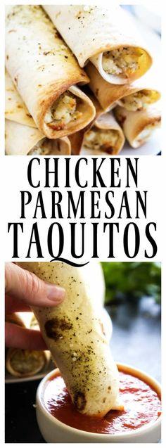 CHICKEN PARMESAN TAQUITOS - A Dash of Sanity #30minutemeal #taquitos #chicken #chickenparmesan #ovenbaked