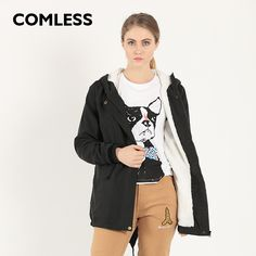 COMLESS 2016 New Winter Women Fashion Hoodied Warm Parka Base Style Zip Up Sherpa Lining Coat Back Swallow Tail Plus Size Hot