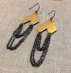 mixed metal gold and black chain fringe chandelier earrings chevron earrings geometric earrings brushed metal modern jewelry rocker chic