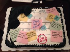 Retirement cake - desk with phone and memos for secretary/receptionist