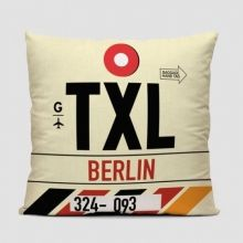 Throw pillow inspired on vintage travel luggage tags from Berlin Tegel Otto Lilienthal Airport. Vintage Luggage Tags, Hand Baggage, New Berlin, Berlin Germany, Pop Design, Custom Pillows, That Way, Pillow Inserts, Hand Sewing