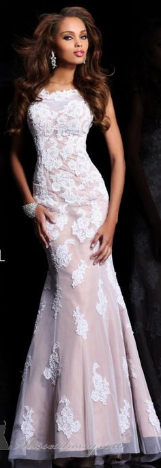 www.fashion2dream.com Sherri Hill couture...love it white lace dress winter fashion outfit fashion blog