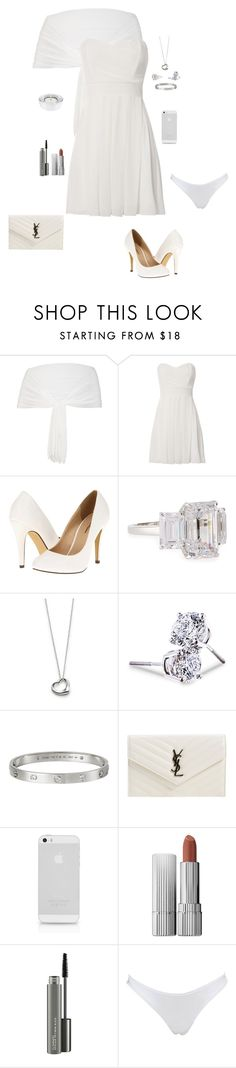 """""""White"""" by gone-girl ❤ liked on Polyvore featuring Chesca, TFNC, Michael Antonio, Fantasia by DeSerio, Elsa Peretti, Lord & Taylor, Cartier, Yves Saint Laurent, Estée Lauder and MAC Cosmetics"""