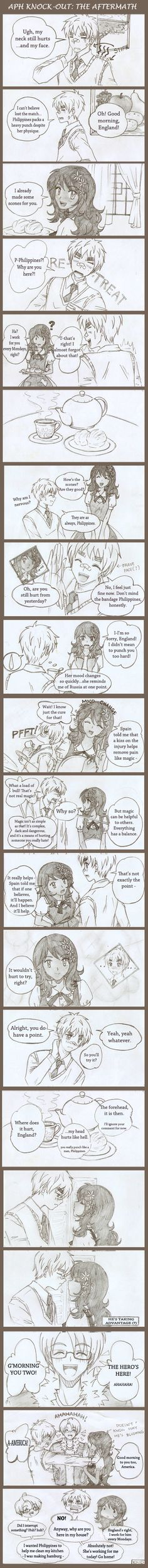 APH: Knock-Out the Aftermath by on DeviantArt Dennor, Spamano, Hetalia Philippines, Hetalia Funny, Hetalia Characters, Country Art, The Dreamers, Deviantart, Hermione Granger