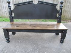 Yardsale bedframe turned into a bench.   LUV this idea.