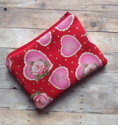Valentine's Day zippy pouch/ hearts and ladybugs/ by SewVeehoo