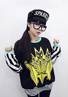 Korean Fashion Style Bat Skeleton Barcode Long Sleeves Pullover Top