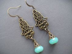 Hamsa Earrings - Hamsa Hand Jewelry - Hamsa Jewelry - Protection Jewelry - Hand of Fatima - Symbolic Jewelry - Choose Your Color