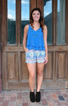 Blue 2-Tier Tank with Shorts! http://www.shopwildflowerboutique.com/new-products/strappy-back-blue-tank