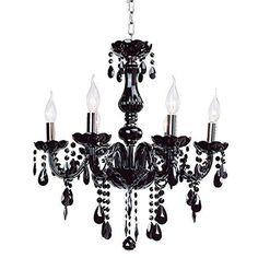 eshion Classic Vintage Crystal Candle Chandeliers Lighting 6 Lights Pendant Ceiling Fixture Lamp for Elegant Decoration (Black)