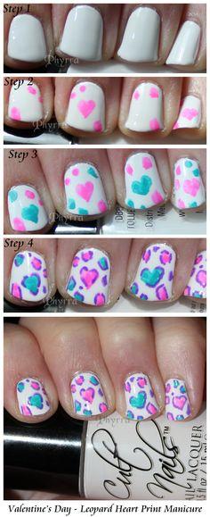Makeup Wars Leopard Heart Mani Tutorial. Click through to see how!  #beauty #makeup #nailpolish #jointhecult