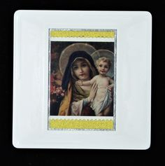 """Christmas Brooch """"The Virgin Mary with Infant Christ"""" postage stamp issued in Designed by Irene Von Trekow who also designed the Christmas stamps in The postage stamp is highlighted using a textured, gold paper. Royal Mail Postage, Gold Paper, Virgin Mary, Postage Stamps, Irene, Brooches, Festive, Infant, Handmade Gifts"""