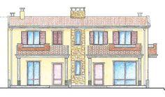 Sardegna, Elmas (CA). Prospetto di una casa bifamiliare
