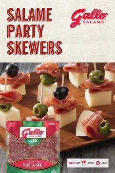 Whatever achievement you're celebrating, do it in style. Serve up Party Skewers, made with Gallo Salame, and enjoy delicious bites of traditional Italian flavor. Stock up on Gallo at Target today. Recipe instructions: Cut block of swiss cheese into cube Seafood Recipes, Keto Recipes, Chicken Recipes, Snack Recipes, Cooking Recipes, Good Food, Yummy Food, Smitten Kitchen, Recipe Instructions