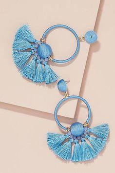 Slide View: Embellished Fringed Hoop Earrings Source by Jewelry Design Earrings, Tassel Jewelry, Fabric Jewelry, Cute Jewelry, Women's Earrings, Jewelry Crafts, Designer Earrings, Beaded Jewelry, Jewelery