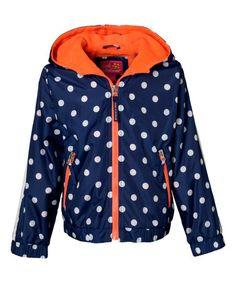 Look at this #zulilyfind! Navy Polka Dot Jacket - Infant, Toddler & Girls #zulilyfinds