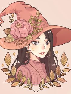 witch, art, and flowers image Anime Witch, Cartoon Kunst, Cartoon Art, Cartoon Witch, Fantasy Kunst, Fantasy Art, Pretty Art, Cute Art, Art And Illustration