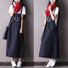 Black Cotton linen Suspender Skirt  Oversize Casual Outfits Women Clothes D0501A